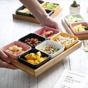 Divided Serving Dish on Bamboo Tray 21