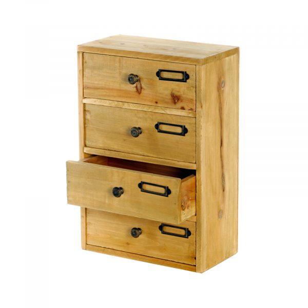 4 Drawer Desktop Wooden Cabinet 1