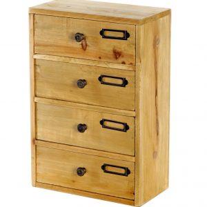 4 Drawer Desktop Wooden Cabinet