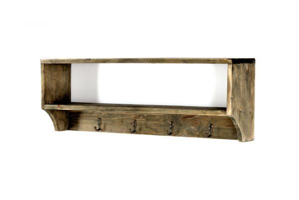Rustic Wooden Shelf with 4 Coat Hooks 1