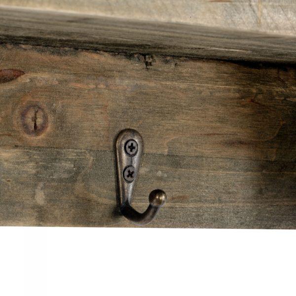 Rustic Wooden Shelf with 4 Coat Hooks 2