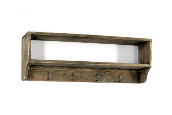 Rustic Wooden Shelf with 4 Coat Hooks