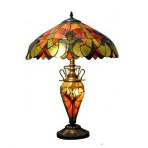 Red and Orange Double Tiffany Lamp 1