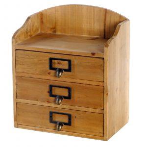 3 Drawers Rustic Wood Storage Organizer