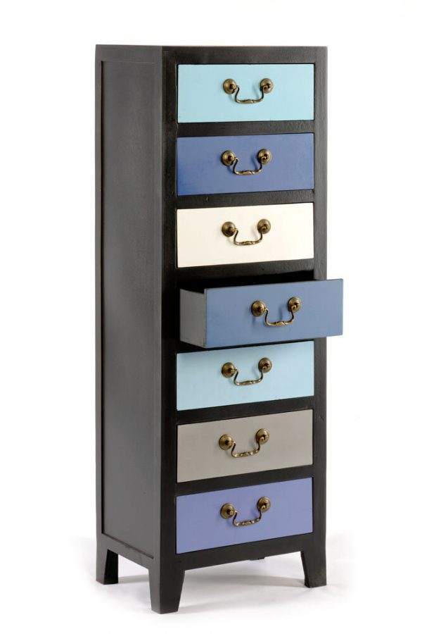 Tall Blue Cabinet with 7 Drawers 1