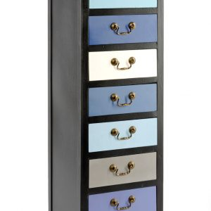 Tall Blue Cabinet with 7 Drawers