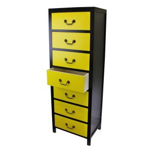Retro Yellow Tall Cabinet with 7 Drawers 1