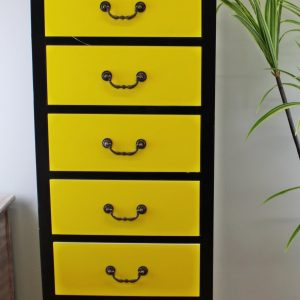 Retro Yellow Tall Cabinet with 7 Drawers 2