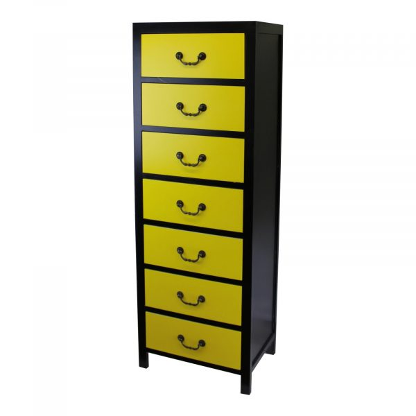 Retro Yellow Tall Cabinet with 7 Drawers