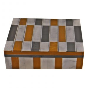 Large Resin Chequered Design Trinket Box