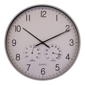 Large Grey Wall Clock With Thermometer-Hygrometer
