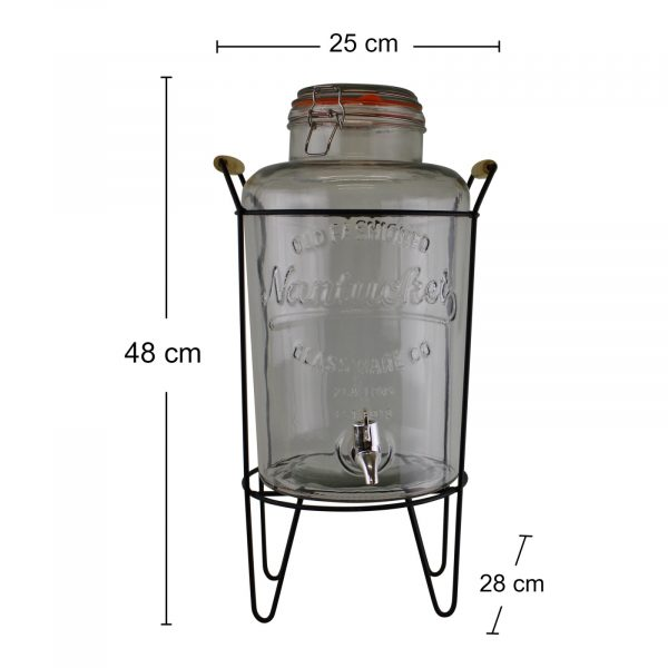Vintage Style Glass 1Dispenser on Metal Stand