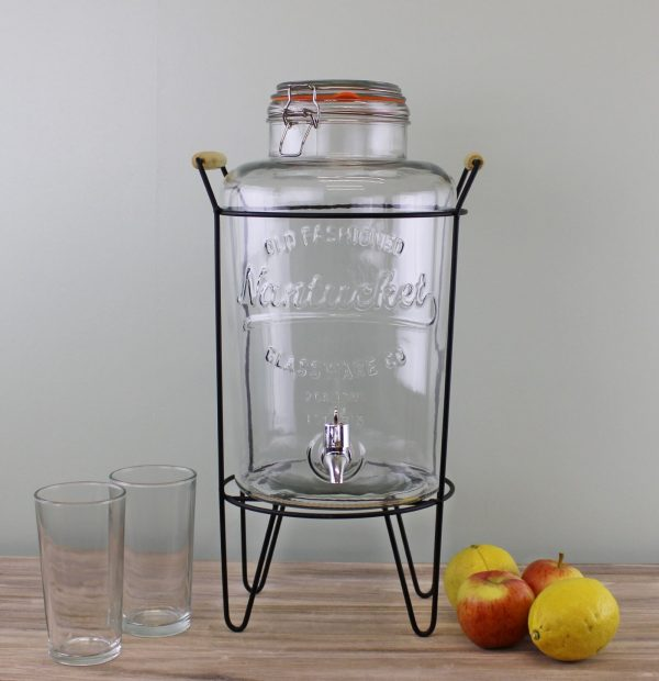 Vintage Style Glass Drinks Dispenser on Metal Stand 2