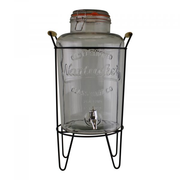 Vintage Style Glass Drinks Dispenser on Metal Stand