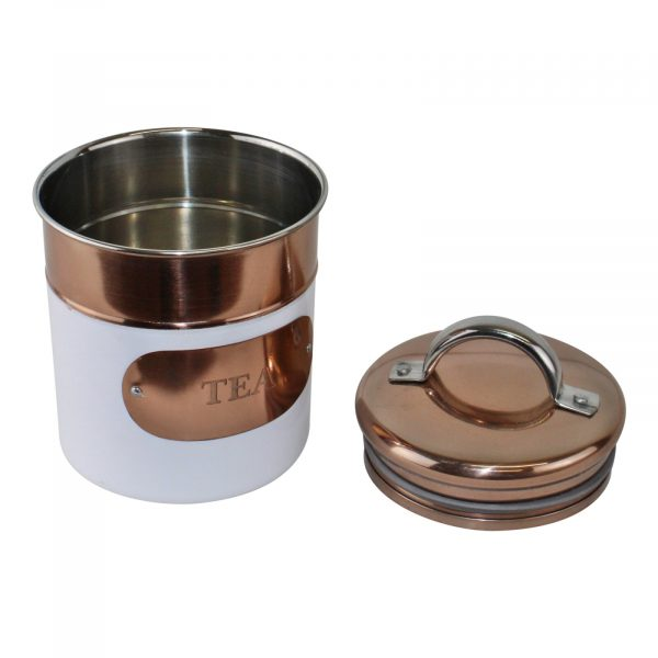 Copper and White Tea Coffee and Sugar Canisters 1