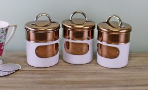 Copper and White Tea Coffee and Sugar Canisters 2