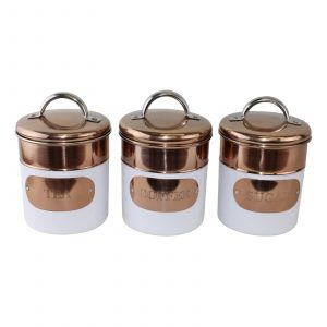 Copper and White Tea Coffee and Sugar Canisters