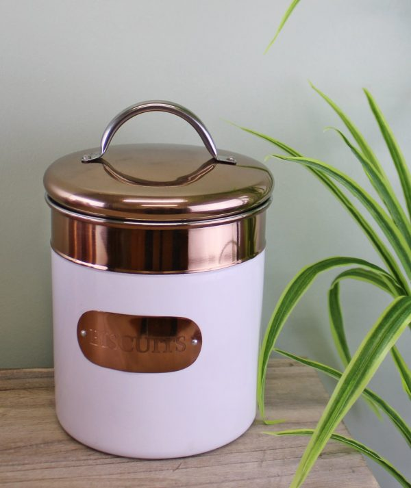 Copper and White Biscuit Tin 2