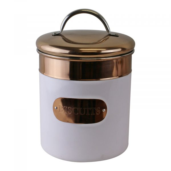Copper and White Biscuit Tin