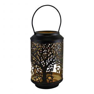 Small Tree Of Life Cutout Black Candle Lantern