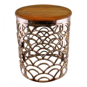 Decorative Silver Metal Side Table With A Wooden Top 1