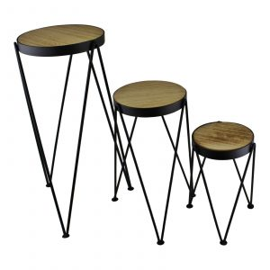 Set of 3 Black Metal and Wood Plant Stands 1