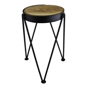 Set of 3 Black Metal and Wood Plant Stands 2
