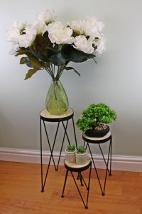 Set of 3 Black Metal and Wood Plant Stands 3