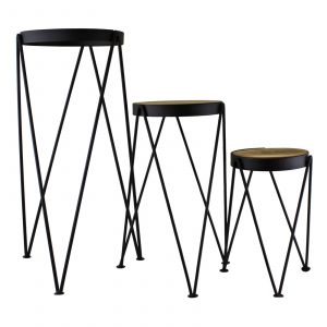 Set of 3 Black Metal and Wood Plant Stands