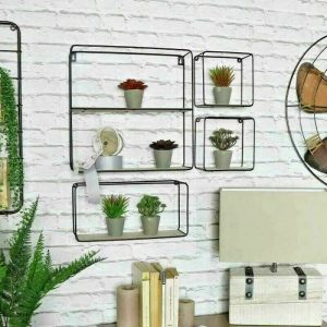 Set of 4 Black Wire and Wood Shelves 1
