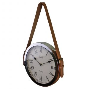 Silver Metal Wall Clock With Belt Strap Hanger 1
