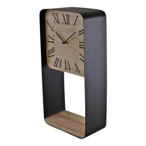 Metal Framed Freestanding Clock With Shelf 1
