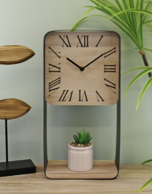 Metal Framed Freestanding Clock With Shelf 2