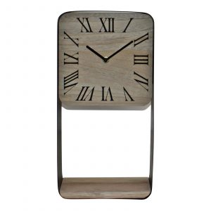 Metal Framed Freestanding Clock With Shelf