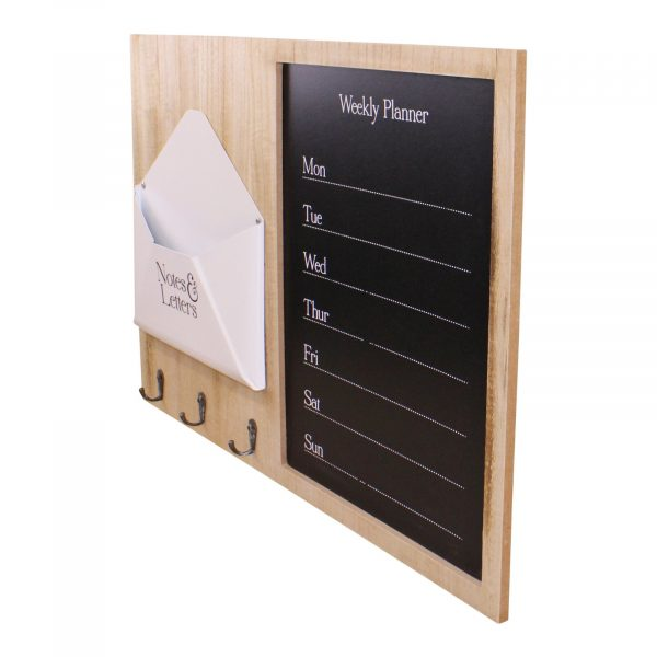 Weekly Planner Board With Letter Holder and Hooks 1