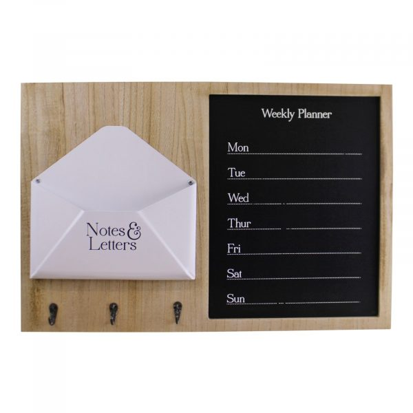 Weekly Planner Board With Letter Holder and Hooks