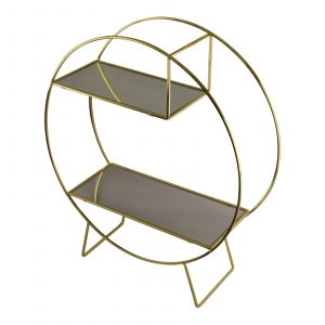 Gold Metal Freestanding Unit With Mirrored Shelves 1