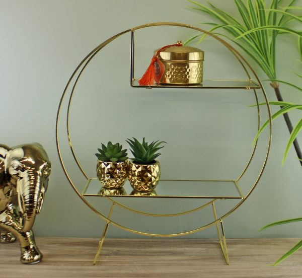Gold Metal Freestanding Unit With Mirrored Shelves 2