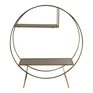 Gold Metal Freestanding Unit With Mirrored Shelves