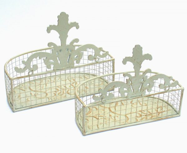Set Of 2 Metal Wall Baskets In Cream 1