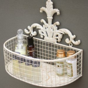 Set Of 2 Metal Wall Baskets In Cream 3