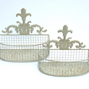 Set Of 2 Metal Wall Baskets In Cream