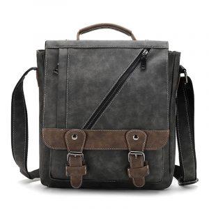 Luxury Soft Vintage Leather Mens Messenger Crossbody Bag