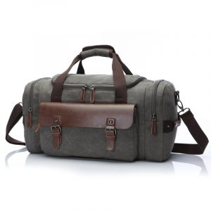 Mens Canvas Faux Leather Weekender Travel Bag
