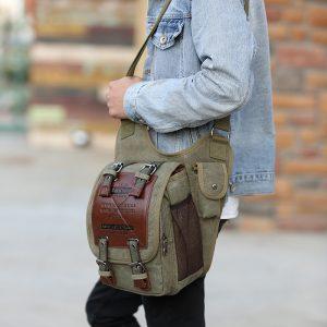 Canvas Saddle Shaped Vintage Style Men's Sling Bag
