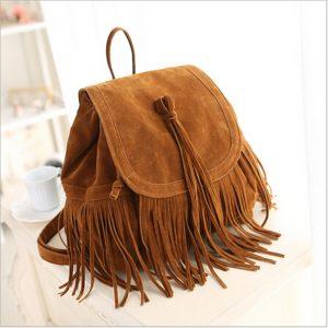 Trendy Suede Tassel Backpacks Shoulder Bag