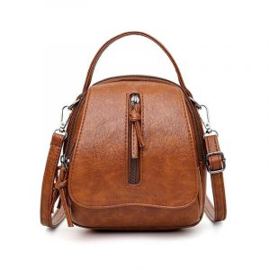 Soft PU Leather Vintage Double Compartment Cossbody Bag 20