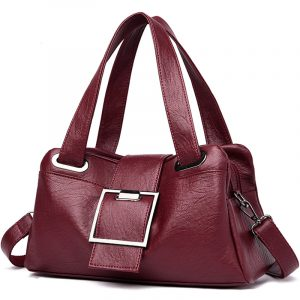 Leather Casual Tote Buckle Design Shoulder Bag with Top Handles 22