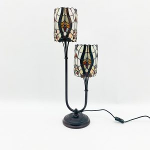Cream Twin Stem Tiffany Lamp 1