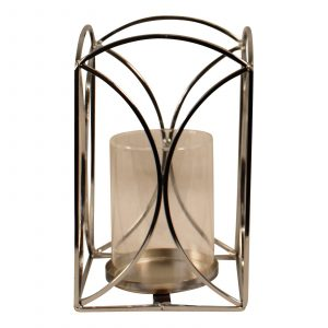 Small Silver and Glass Candle Lantern